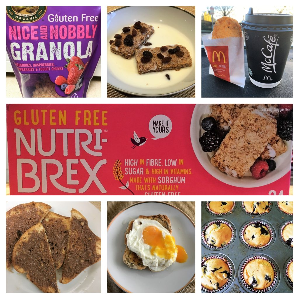 livingcoeliac, coeliac, breakfasts, waffles, cereal, toast,